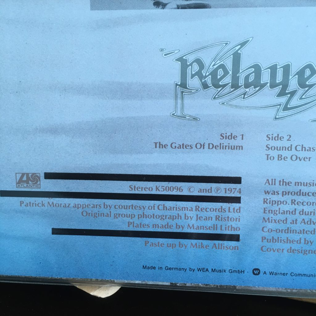 Relayer inside cover showing redacted information